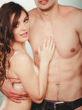 Sexy couple. Half naked man and woman in lingerie. Stock Photo