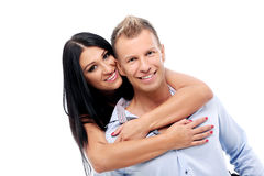 Sexy couple having a photo session in studio Stock Images