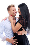 Sexy couple having a photo session in studio Stock Photos