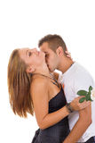 Sexy couple in love with rose Stock Photography
