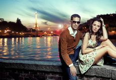 Sexy couple in Paris Stock Image