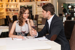 Sexy couple at the romantic dinner. Royalty Free Stock Image