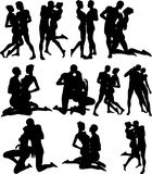 Sexy Couple Silouettes - Vector Royalty Free Stock Photography