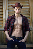 Sexy courageous handsome young cowboy. With amazing muscles and abs poses for a photo Royalty Free Stock Image