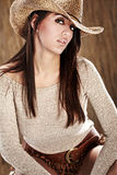 Cowgirl. Beautiful Cowgirl in hat stock photos