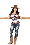 Sexy Cowgirl. Pretty cowgirl leaning on a cedar rail, wearing a corset Stock Photo