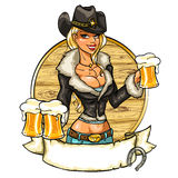 Sexy cowgirl with glasses of beer Stock Images