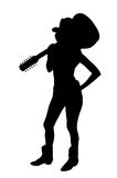 Cowgirl Silhouette. Silhouette of a young woman with blond hair wearing a brown Bikini by Swimbay and a Cowboy hat carrying a 12 string acoustic guitar Image Vector Illustration