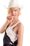 Sexy cowgirl in a straw cowboy hat. On white  background Royalty Free Stock Photos