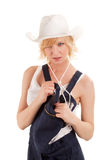 Sexy cowgirl in a straw cowboy hat Stock Image