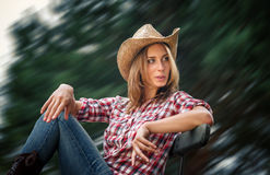 Sexy cowgirl. Stock Photo
