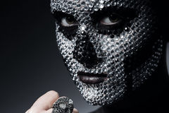 Sexy creative woman with silver rhinestones. In studio Royalty Free Stock Photo