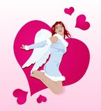 Sexy cupid. Sexy brunette girl in Cupid costume jumping, big heart over bright background Stock Photography