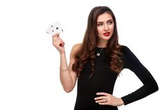 curly hair brunette posing with two aces cards in her hands, poker concept isolation on white background stock photography