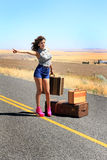 Sexy Cute Hitch Hiker Stock Image
