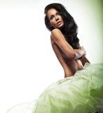 Sexy dame die haar Brest verbergt Stock Foto's