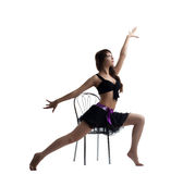dance instructor show exercise with chair Royalty Free Stock Image