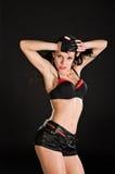 Sexy dancer on black background. Sexy go-go dancer performing on black background Stock Photo