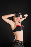 Dancer on black background. Go-go dancer performing on black background royalty free stock photography