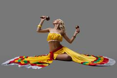 Sexy dancer in mexican costume Royalty Free Stock Photo