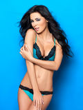 Sexy dans la lingerie bleue Images stock