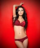 Sexy dans la lingerie rouge Photographie stock libre de droits