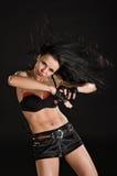 Sexy danser op zwarte achtergrond Royalty-vrije Stock Foto