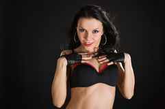 Sexy danser op zwarte achtergrond Royalty-vrije Stock Foto's