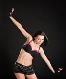 Sexy danser op zwarte achtergrond Stock Fotografie