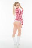 Sexy de damesslipjesborrels van het blonde rode en witte overhemd Royalty-vrije Stock Afbeelding