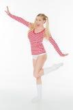 Sexy de damesslipjesborrels van het blonde rode en witte overhemd Stock Foto