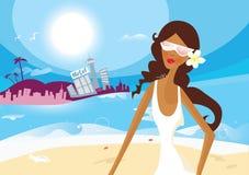 Sexy de zomermeisje op vakantie stock illustratie