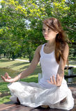 Sexy delle azioni della giovane donna nell'yoga Fotografia Stock