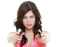 Sexy detective spy woman holding gun isolated. Sexy detective spy woman brunette holding gun isolated on white background Royalty Free Stock Image