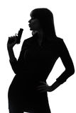 Sexy detective  woman holding aiming  gun silhouette Royalty Free Stock Image