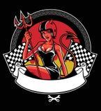 Sexy devil wearing motorcycle helmet Stock Photos