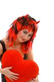 Sexy devil woman and red heart Royalty Free Stock Images