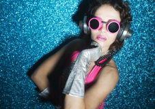 Sexy disco dancer in pink Royalty Free Stock Image