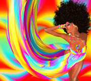 Sexy Disco Dancer With Retro Afro Hairstyle. Sexy woman with afro haircut is dancing disco. Disco 80 style. Beautiful African woman in a colorful flowing ribbons Royalty Free Stock Photo