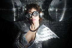 Sexy disco dancer in solver costume Royalty Free Stock Images