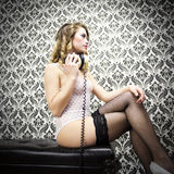 Sexy disco dj woman in lingerie vintage wallpa Royalty Free Stock Photo