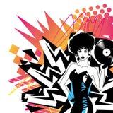 Sexy DJ met Vinyl Stock Foto's