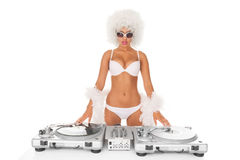 Sexy dj woman Stock Image