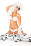 Sexy dj woman on white djing Stock Photos