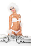 Sexy dj woman on white djing Royalty Free Stock Photo