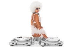 Sexy dj woman on white djing Royalty Free Stock Image