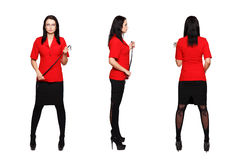 dominatrix woman in red suit 3 side view royalty free stock photography