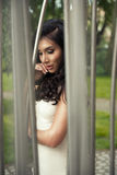 Sexy donkerbruine vrouw Stock Foto