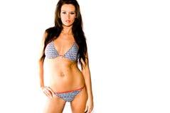 Sexy donkerbruine vrouwenmannequin in zwempak Stock Fotografie