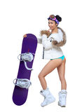 Sexy dressed woman with snowboard Stock Image